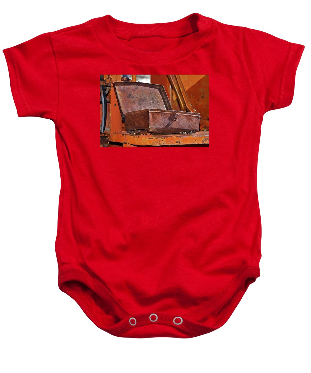 Toolbox Baby Onesie featuring the photograph A Rusy Toolbox by Phyllis Denton