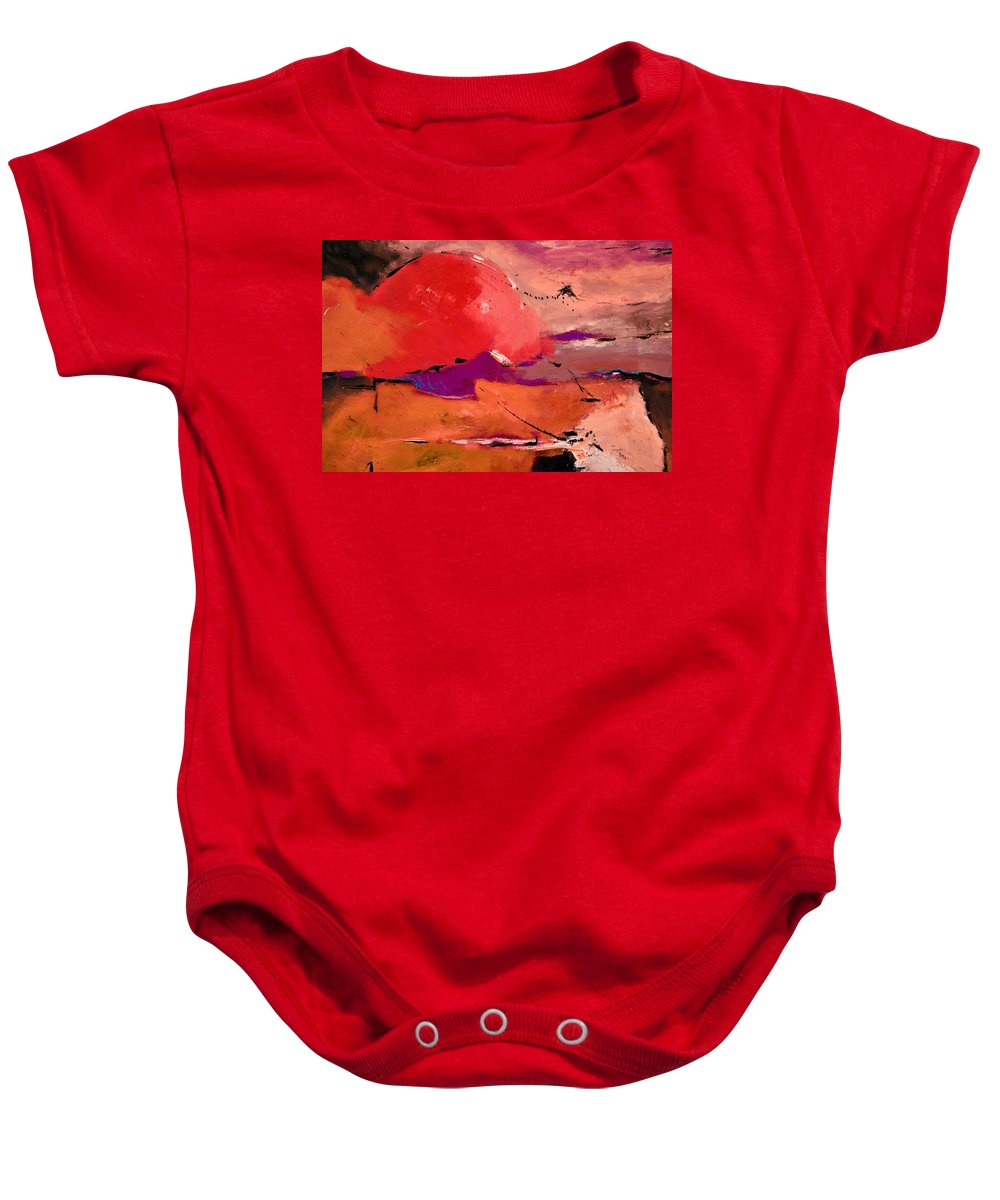 Abstract Baby Onesie featuring the painting Abstract 695623 by Pol Ledent