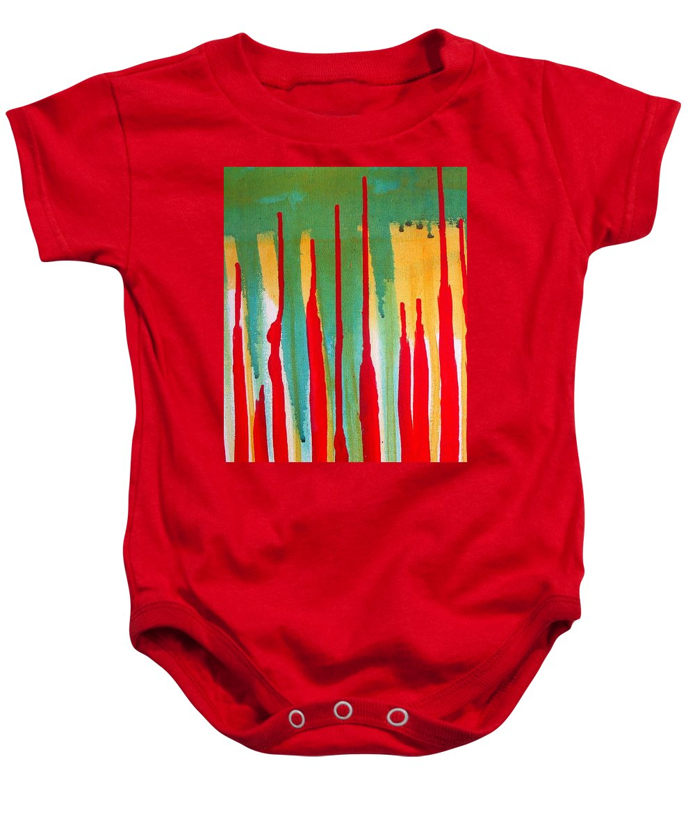 Abstract Baby Onesie featuring the painting Spilled Shadows by Vesna Antic