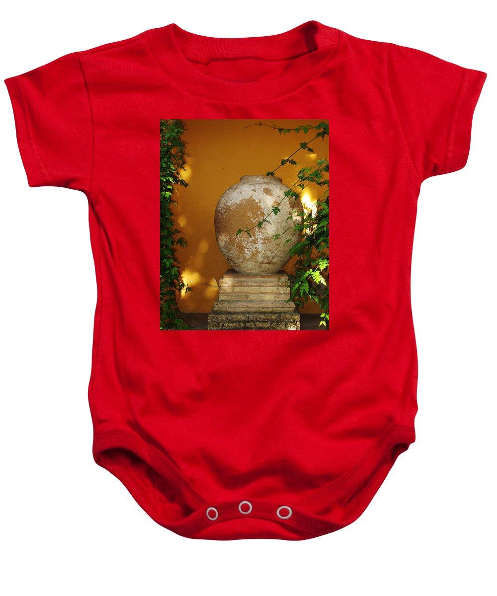 Alcazar Baby Onesie featuring the photograph Alcazar Urn by Greg Matchick