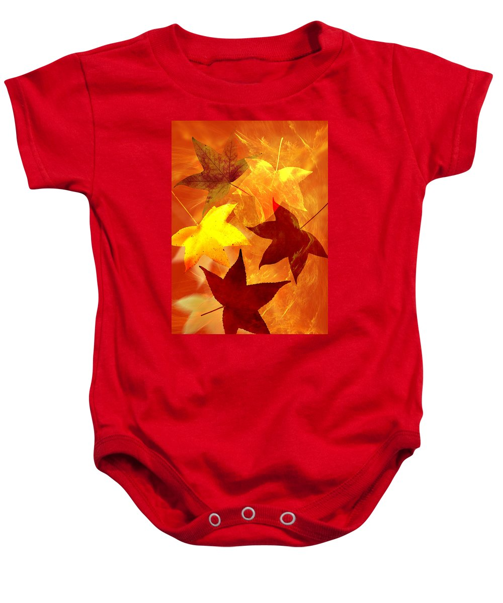 Abstract Baby Onesie featuring the digital art Autumn Leaves by Carol and Mike Werner