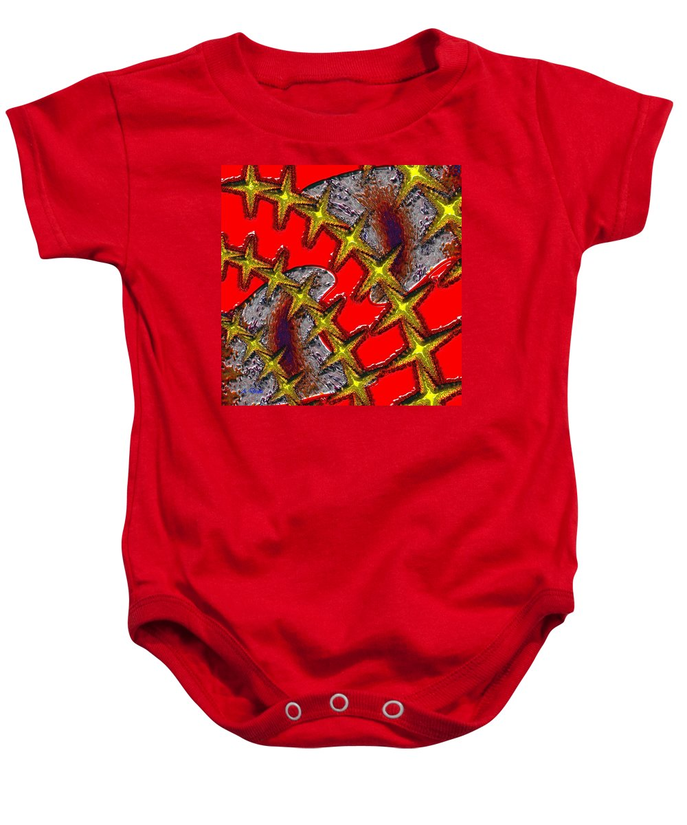 Blood Baby Onesie featuring the digital art Blood On The Wire by Alec Drake