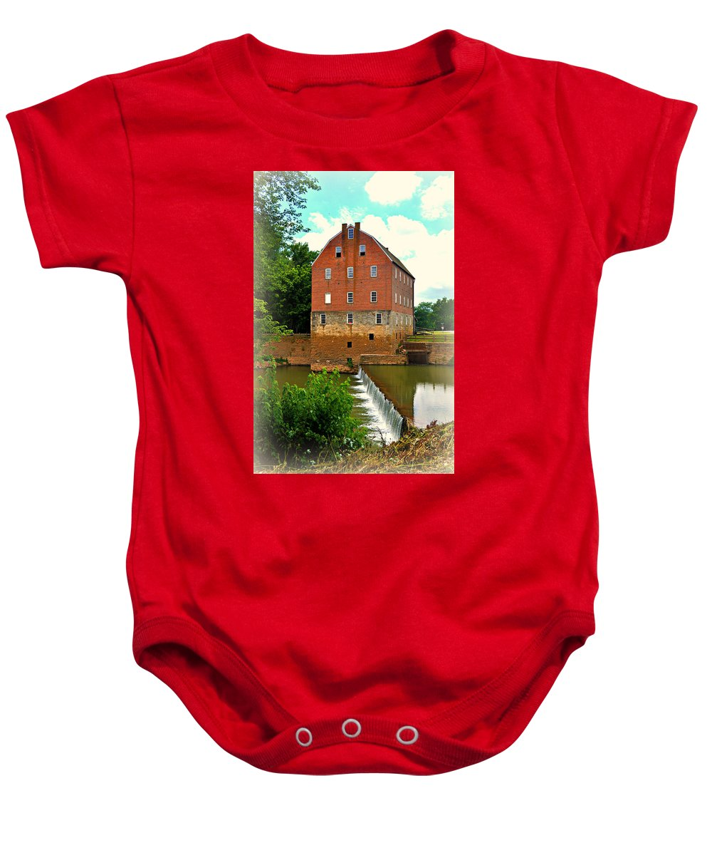 Mill Baby Onesie featuring the photograph Bollinger Mill by Marty Koch