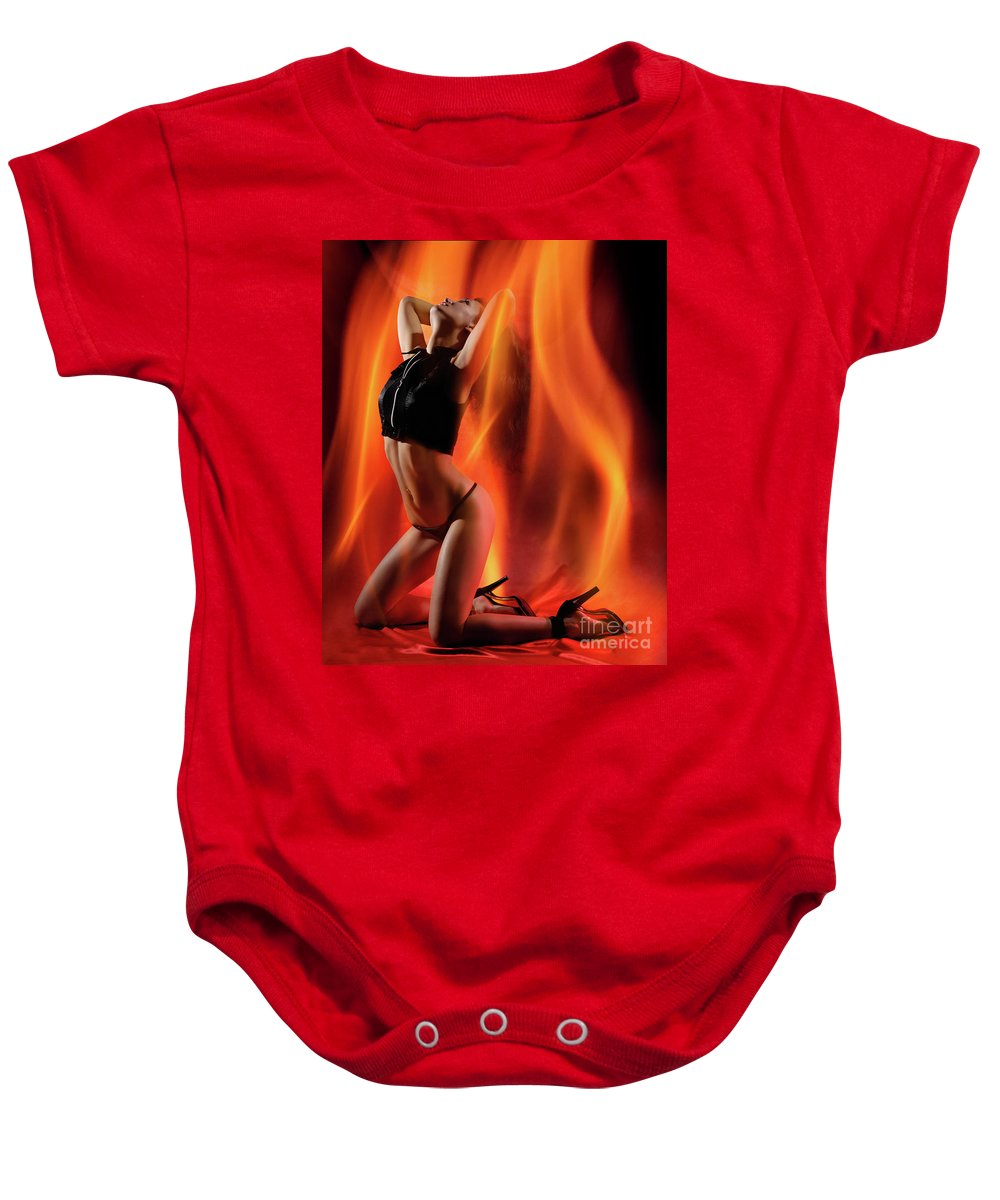 Beautiful Baby Onesie featuring the photograph Burning In Flames by Oleksiy Maksymenko
