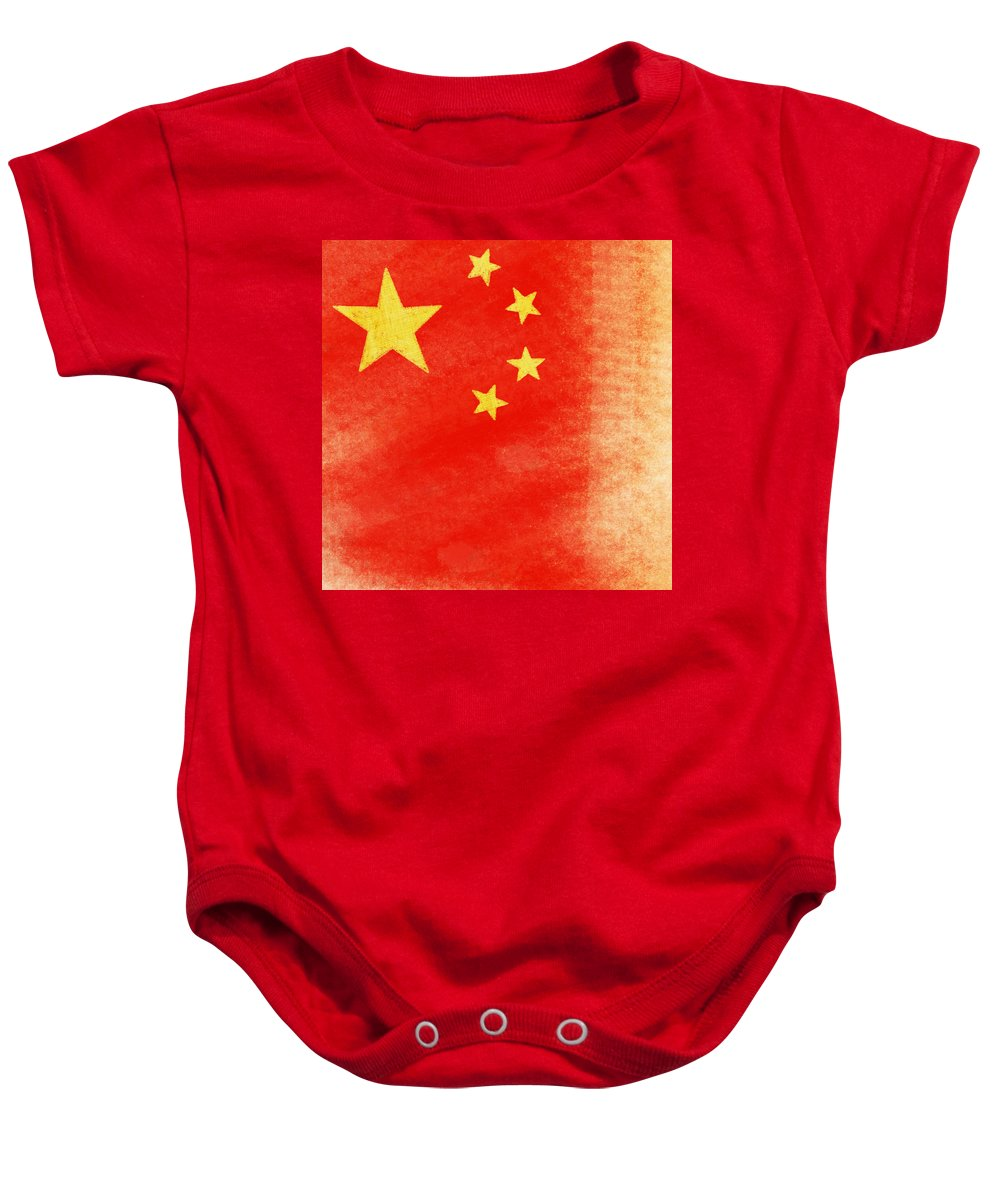 Aged Baby Onesie featuring the painting China Flag by Setsiri Silapasuwanchai