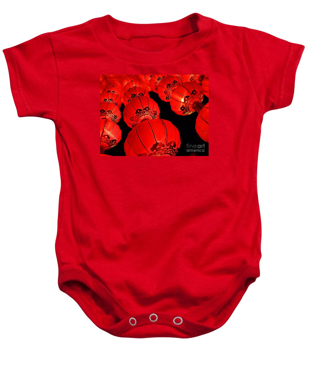 Asia Baby Onesie featuring the photograph Chinese Lanterns 3 by Xueling Zou