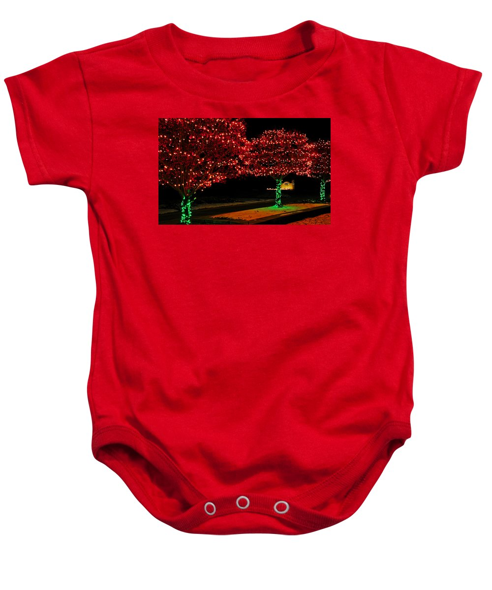 Usa Baby Onesie featuring the photograph Christmas Lights Red And Green by LeeAnn McLaneGoetz McLaneGoetzStudioLLCcom