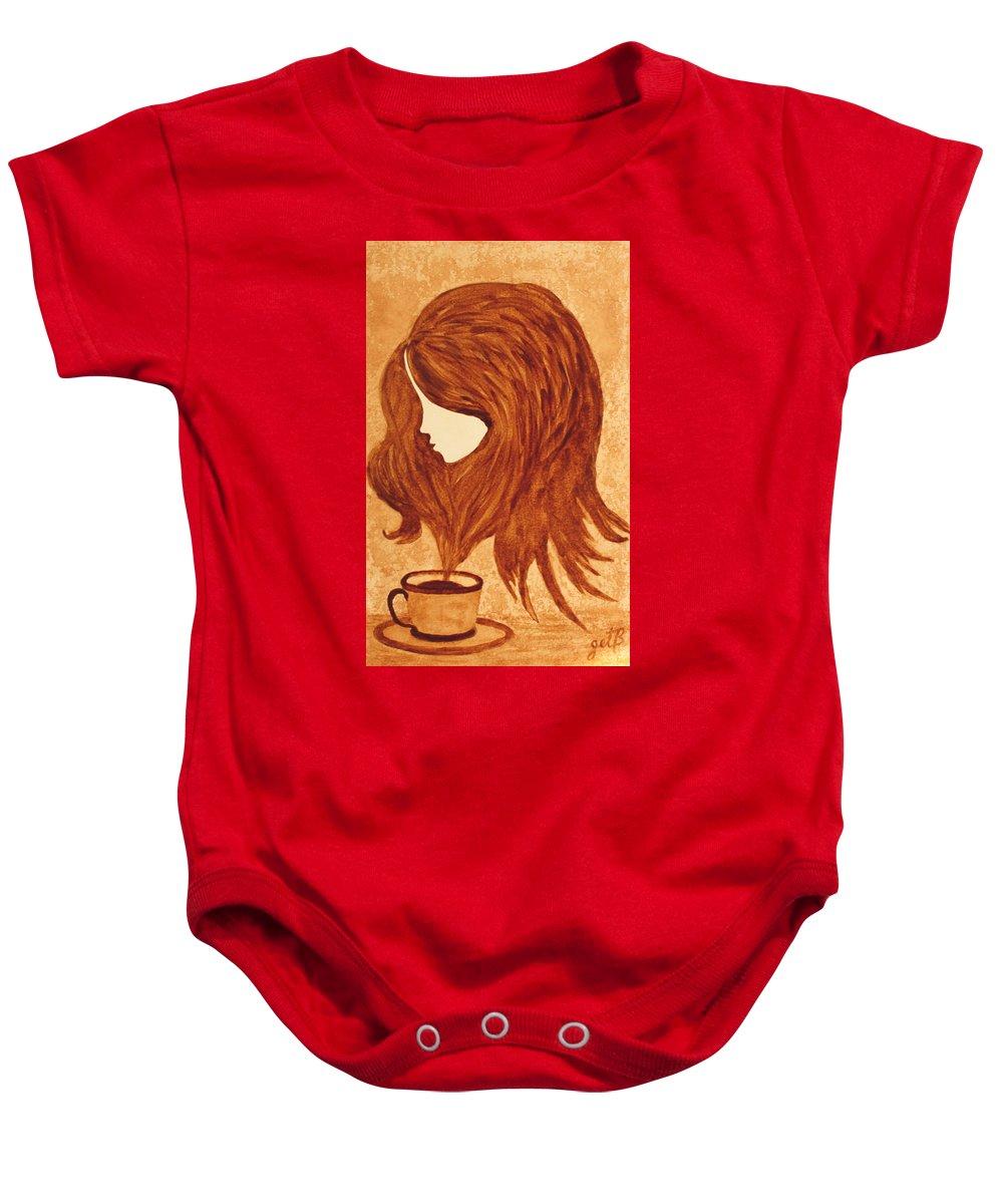 Abstract Woman Baby Onesie featuring the painting Coffee Break Coffee Painting by Georgeta Blanaru