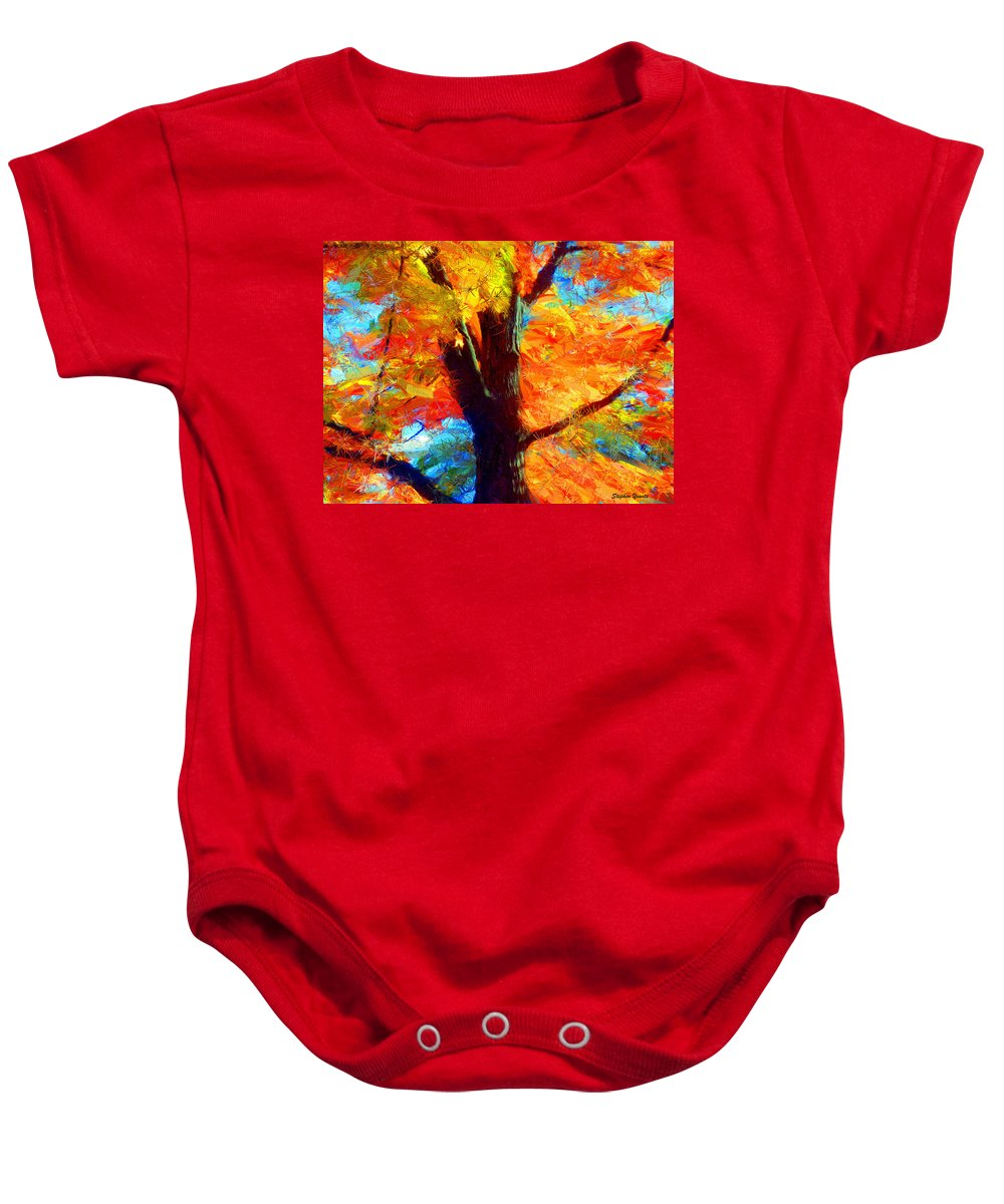 Fall Baby Onesie featuring the digital art Colors Of Autumn by Stephen Younts