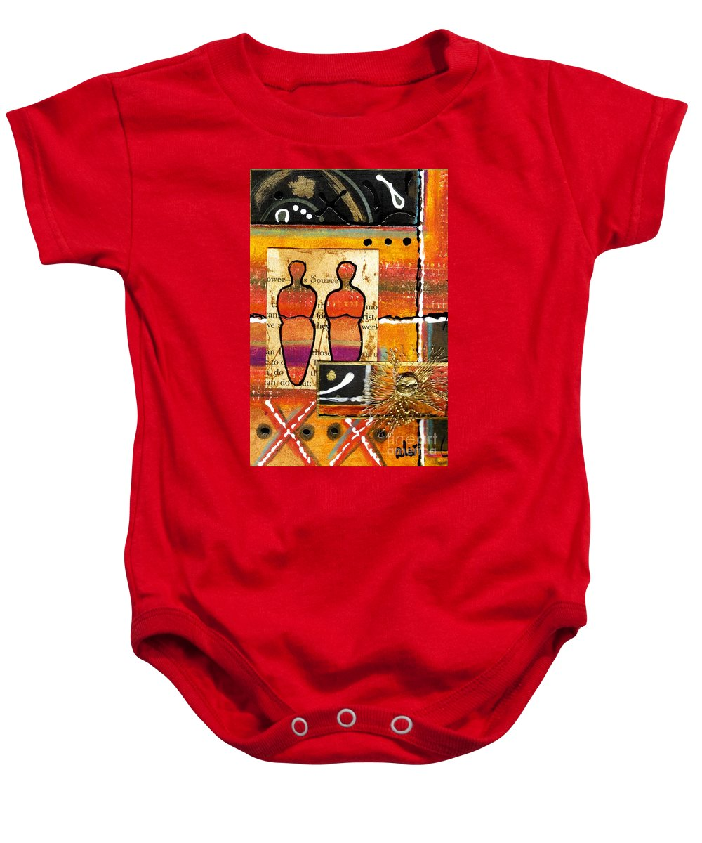 Greeting Cards Baby Onesie featuring the mixed media Companions I by Angela L Walker