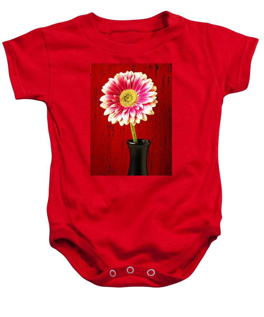 Flower Baby Onesie featuring the photograph Daisy In Black Vase by Garry Gay