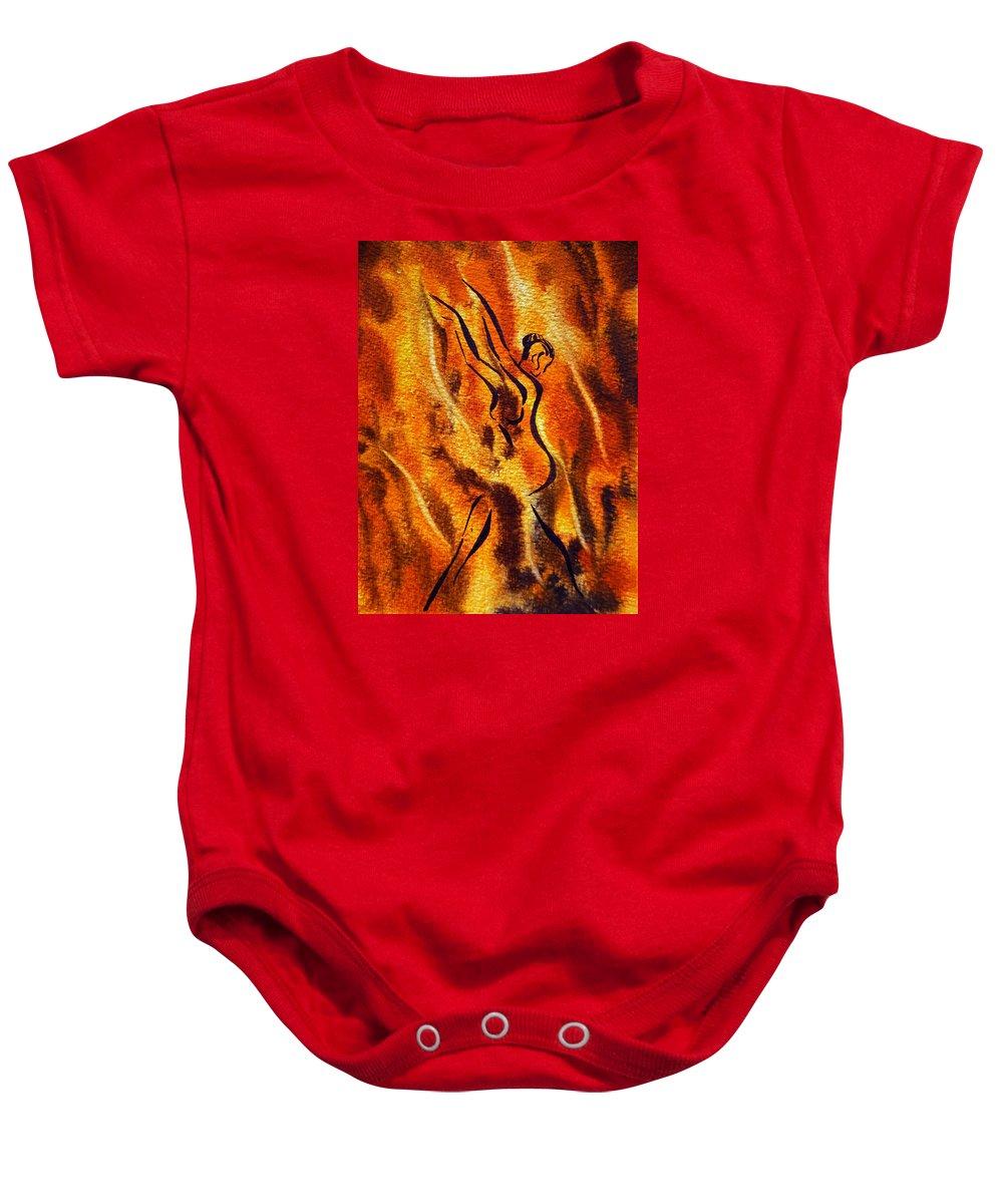 Abstract Baby Onesie featuring the painting Dancing Fire Viii by Irina Sztukowski