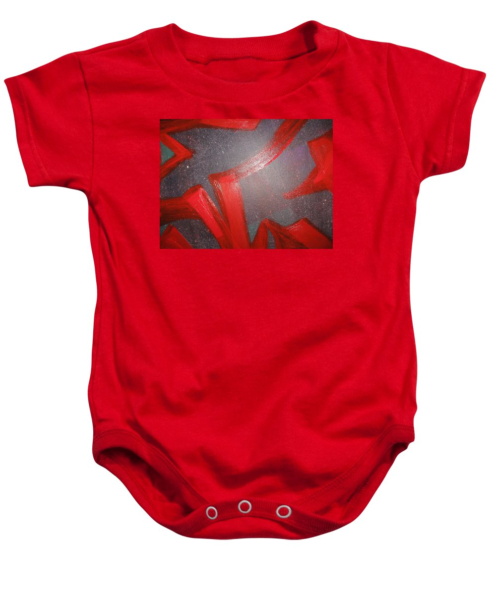 Non Dualitymind Baby Onesie featuring the painting Deliberate Devious Delivery by Paula Andrea Pyle