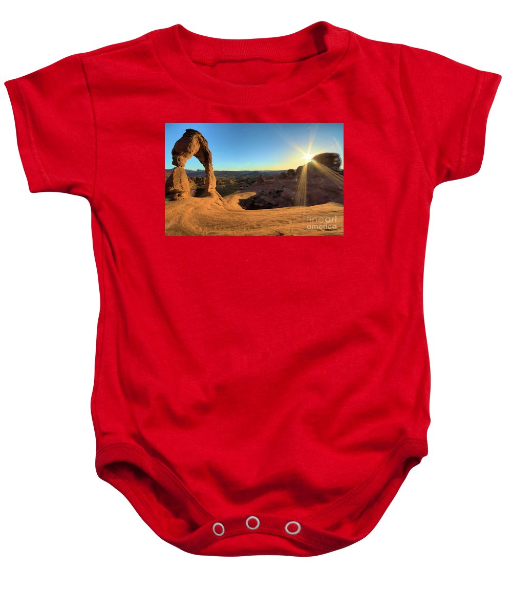 Delicate Arch Baby Onesie featuring the photograph Delicate Arch Bowl by Adam Jewell
