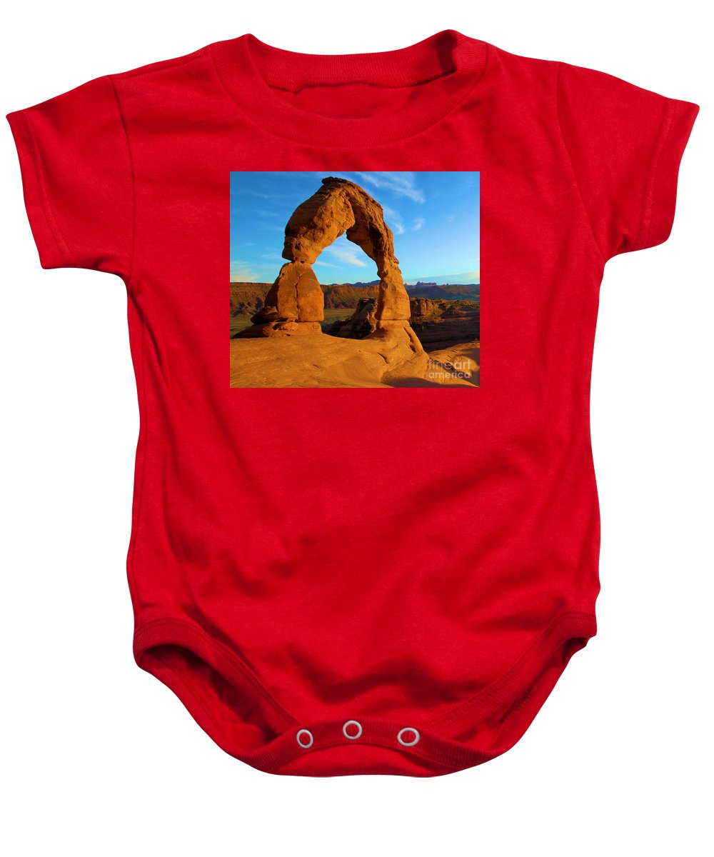Delicate Arch Baby Onesie featuring the photograph Delicate Arch Portrait by Adam Jewell