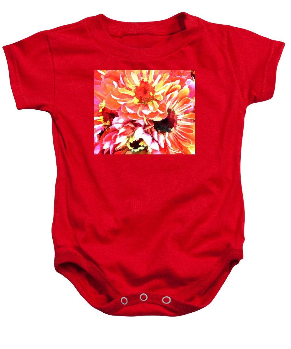 Flower Flowers Garden Zinnias Zinnia Abstract Orange Colorful Flora Floral Nature Natural Baby Onesie featuring the painting Explosion Of Bright Zinnias by Elaine Plesser