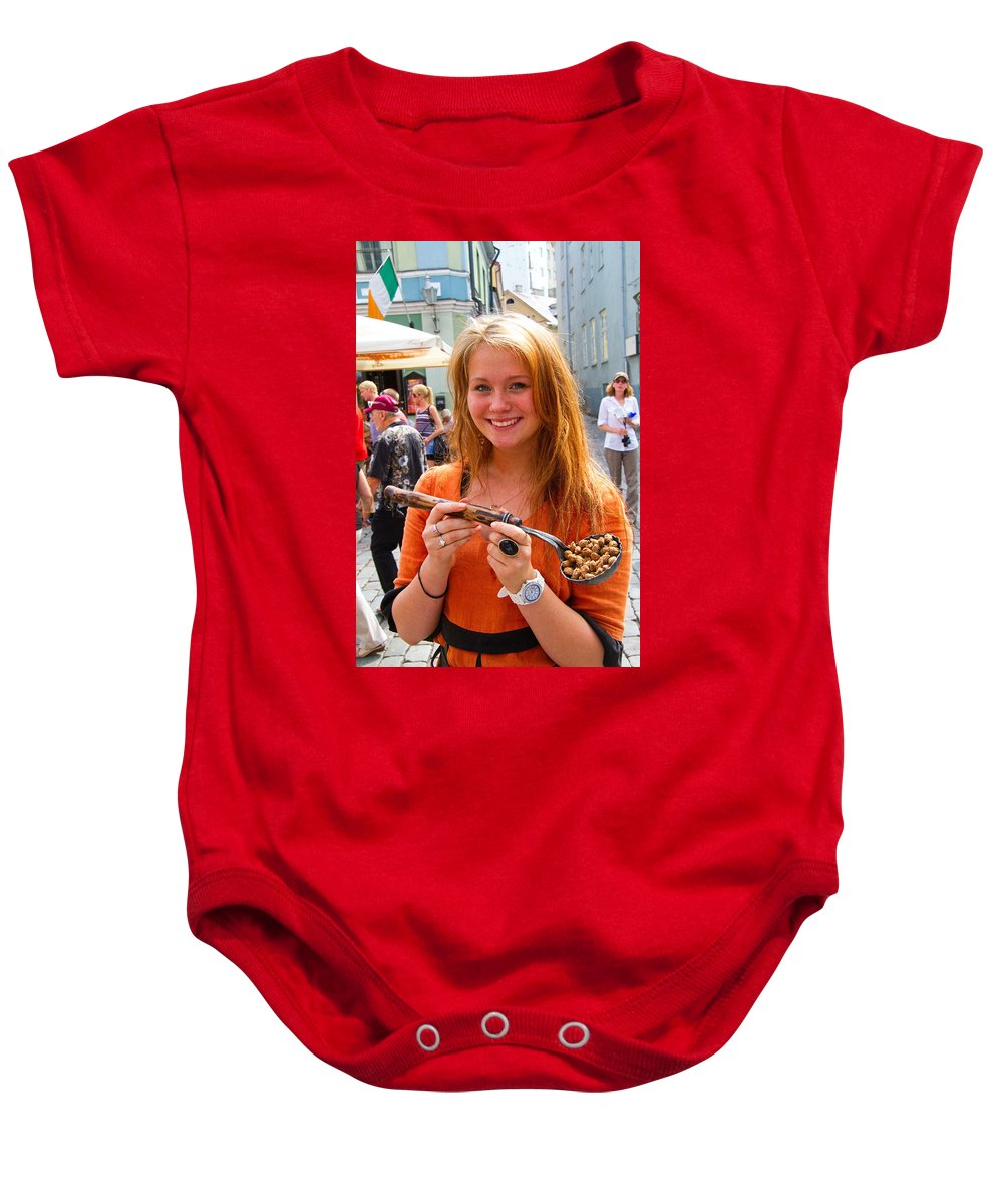 City Baby Onesie featuring the photograph Faces Of Tallinn Estonia by David Smith