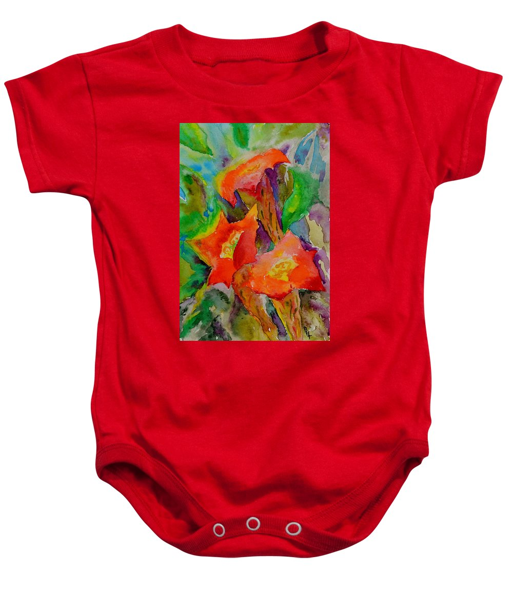 Watercolor Baby Onesie featuring the painting Fanfare by Beverley Harper Tinsley