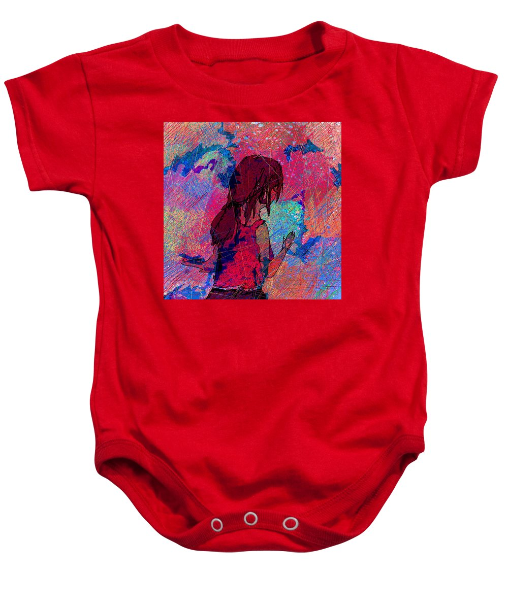 Abstract Baby Onesie featuring the painting Feeling The Colors by Rachel Christine Nowicki
