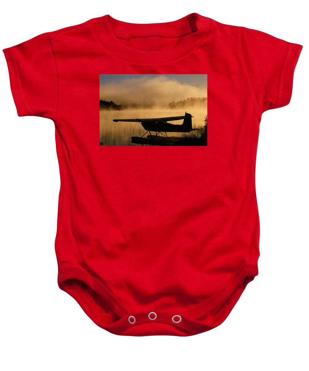 Back Shots Baby Onesie featuring the photograph Float Plane, Long Lake, Sudbury, Ontario by Mike Grandmailson