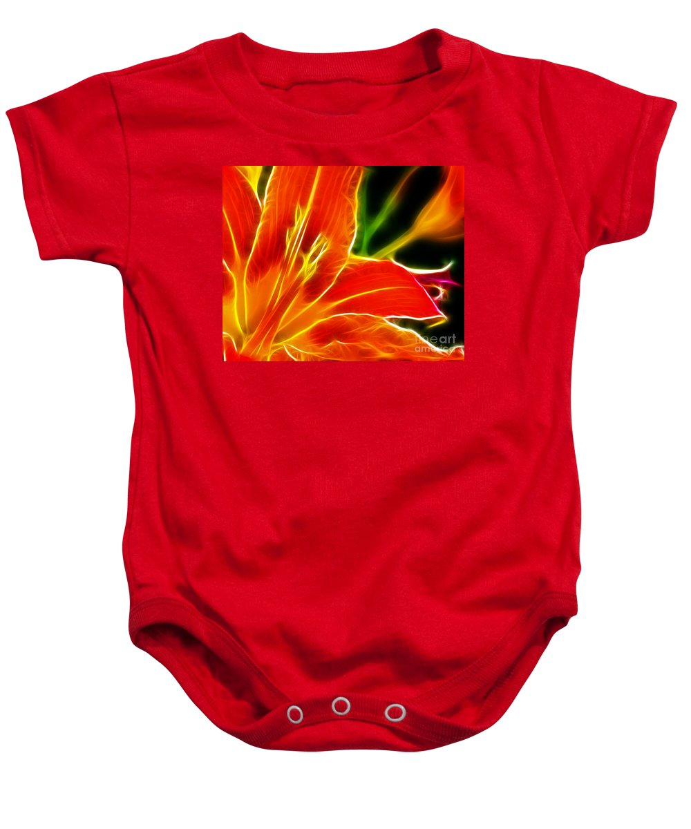 Flower - Electric Lily - Abstract Baby Onesie featuring the photograph Flower - Lily 1 - Abstract by Paul Ward