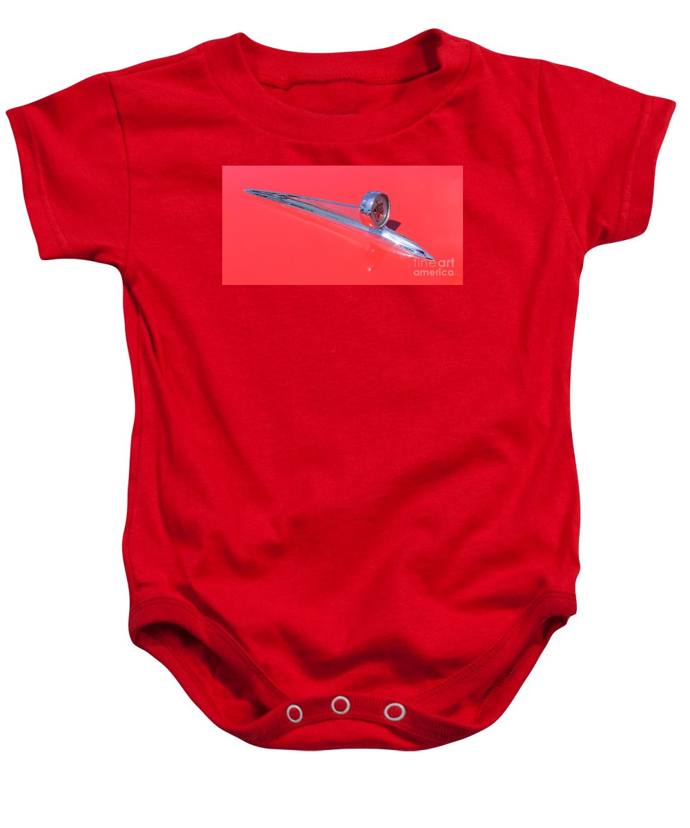 Ford Ranchero Baby Onesie featuring the photograph Ford Ranchero Hood Ornament by Mary Deal