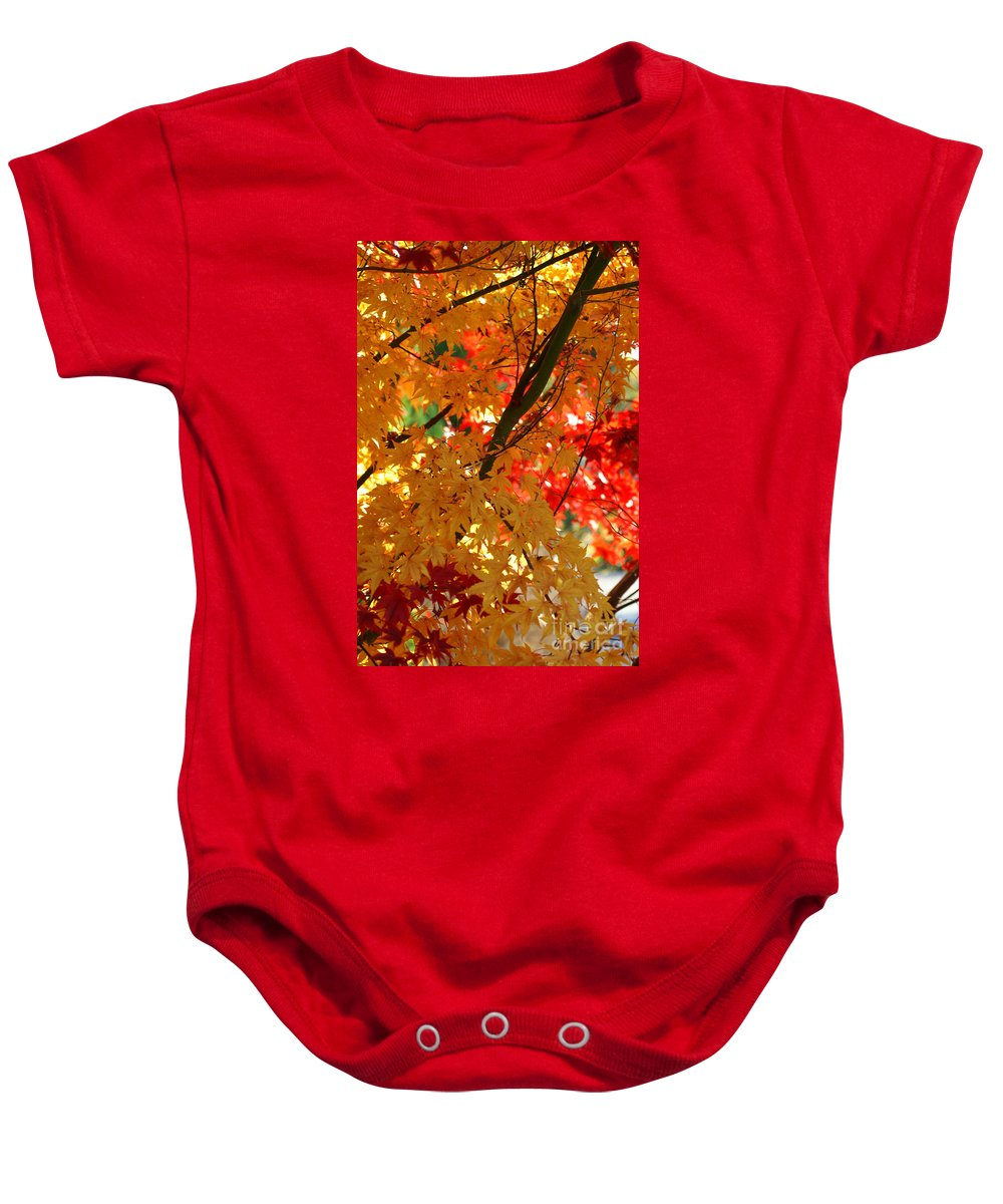 Fall Baby Onesie featuring the photograph Golden Autumn Leaves by Randy Harris