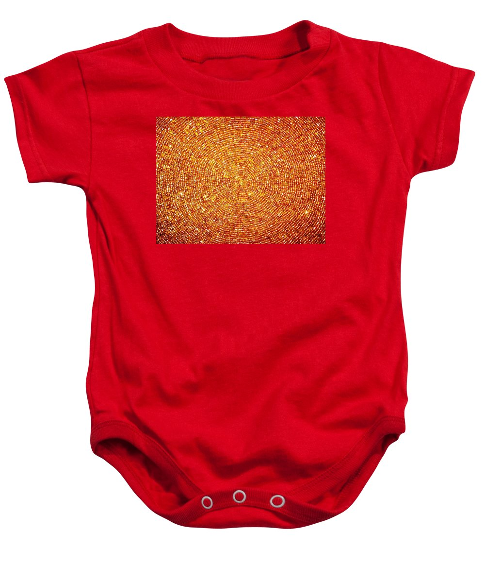 Blossoming Baby Onesie featuring the photograph Golden Sequins Web by Sumit Mehndiratta