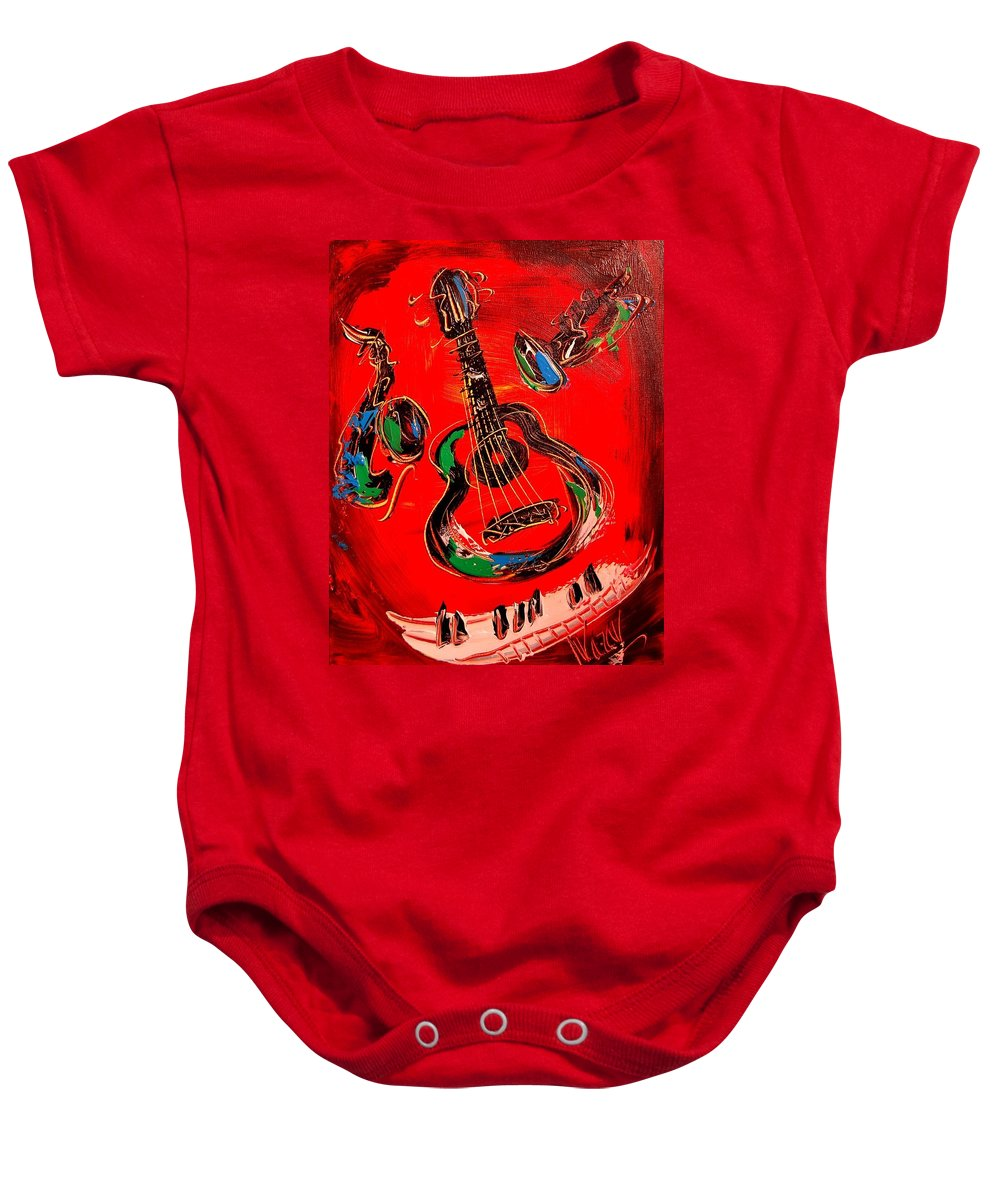 Landscape Framed Prints Paintings Baby Onesie featuring the painting Guitar Jazz by Mark Kazav