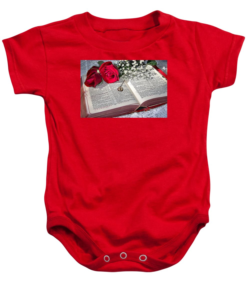Bible Baby Onesie featuring the photograph Its All There In Black And White by Nadine Lewis