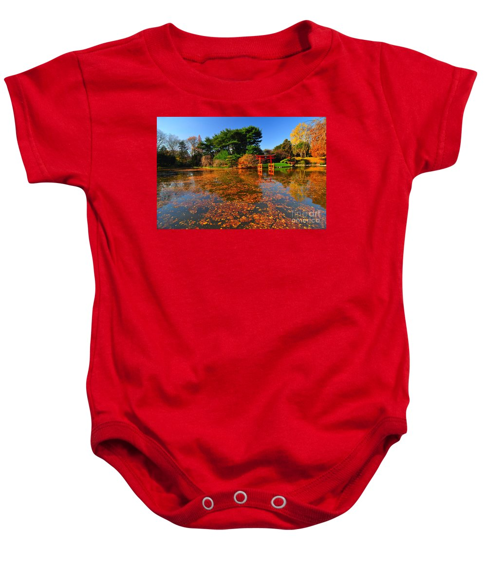 Bbg Baby Onesie featuring the photograph Japanese Garden Brooklyn Botanic Garden by Mark Gilman