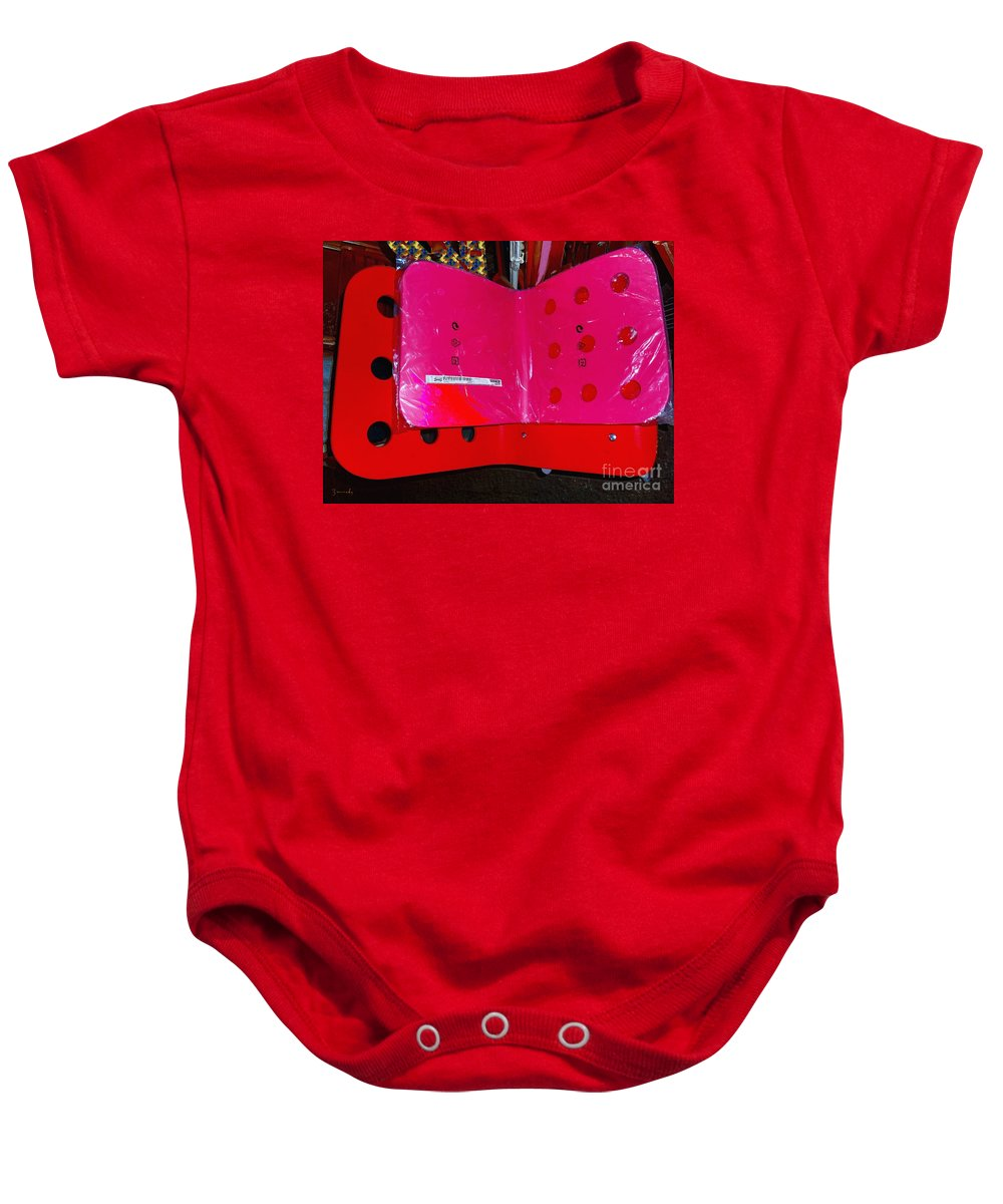 Plastic Baby Onesie featuring the mixed media Jules Ikea by Contemporary Luxury Fine Art