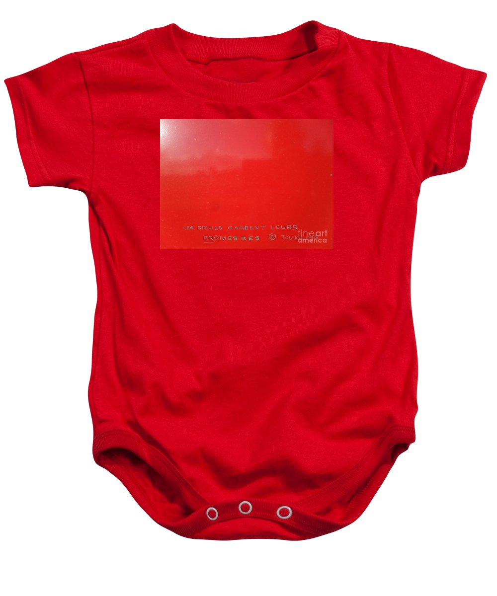 Les Baby Onesie featuring the digital art Les Riches Gardent Leurs Promesses Copyright Toujours by Contemporary Luxury Fine Art