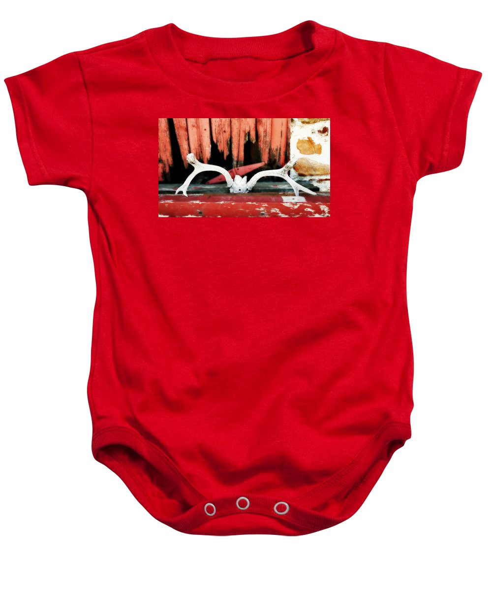 Cherryvale Baby Onesie featuring the photograph Little Antlers 3 by Marilyn Hunt
