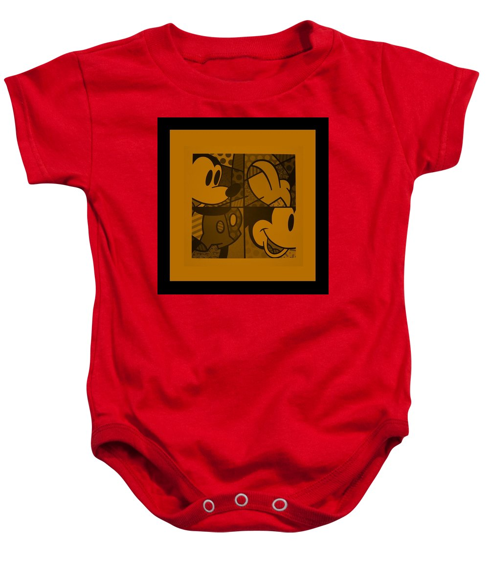 Mickey Mouse Baby Onesie featuring the photograph Mickey In Orange by Rob Hans