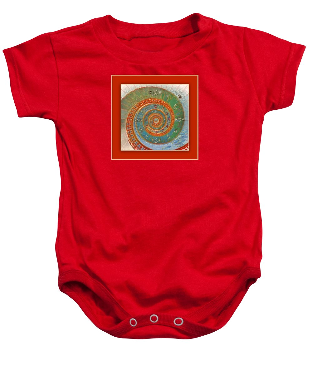 Clock Baby Onesie featuring the mixed media Mirror Of Life by Freddy Kirsheh