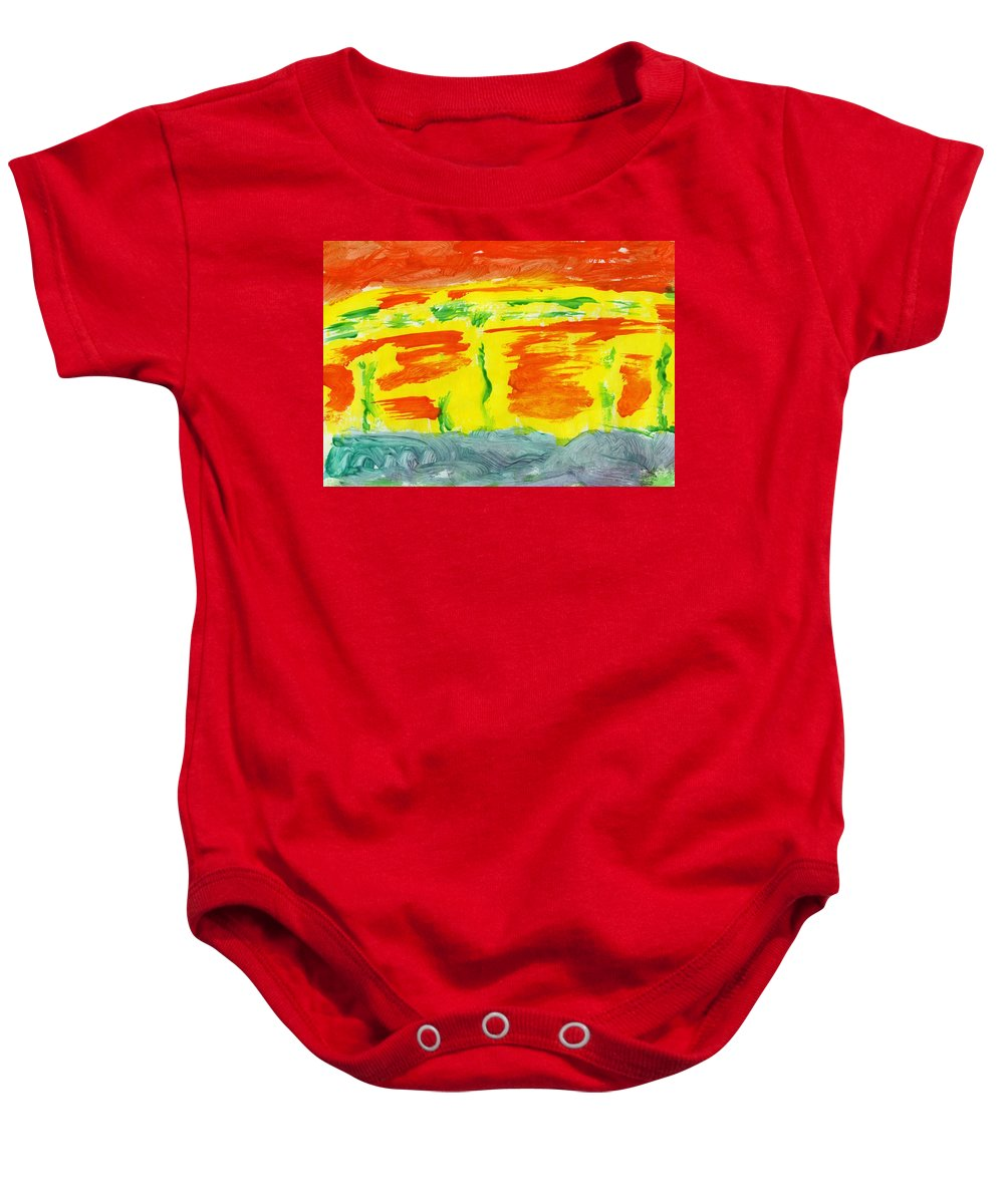 Molten River Baby Onesie featuring the painting Molten River by Taylor Webb