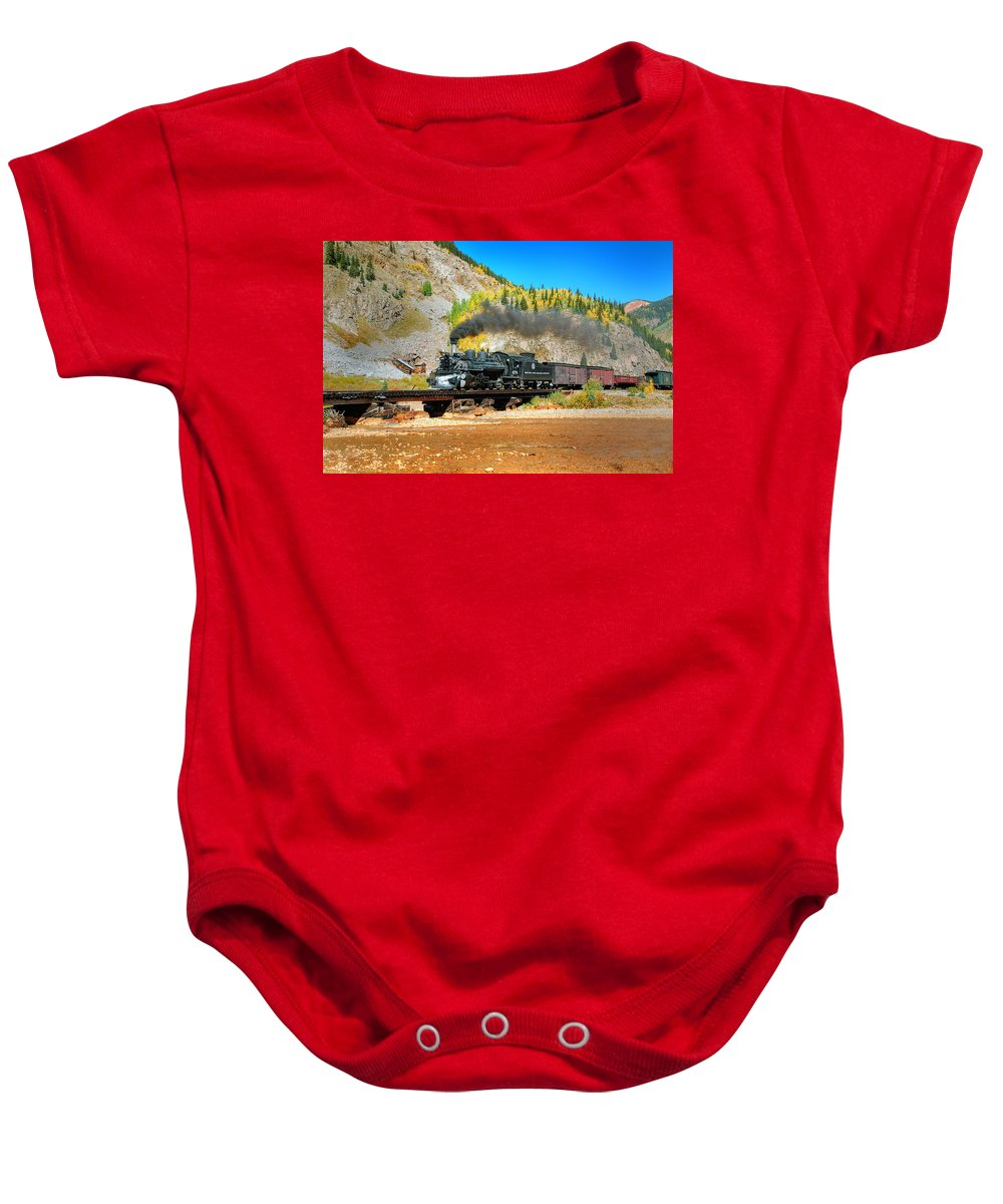 Steam Train Photographs Baby Onesie featuring the photograph Narrow Gauge Colors In Silverton by Ken Smith