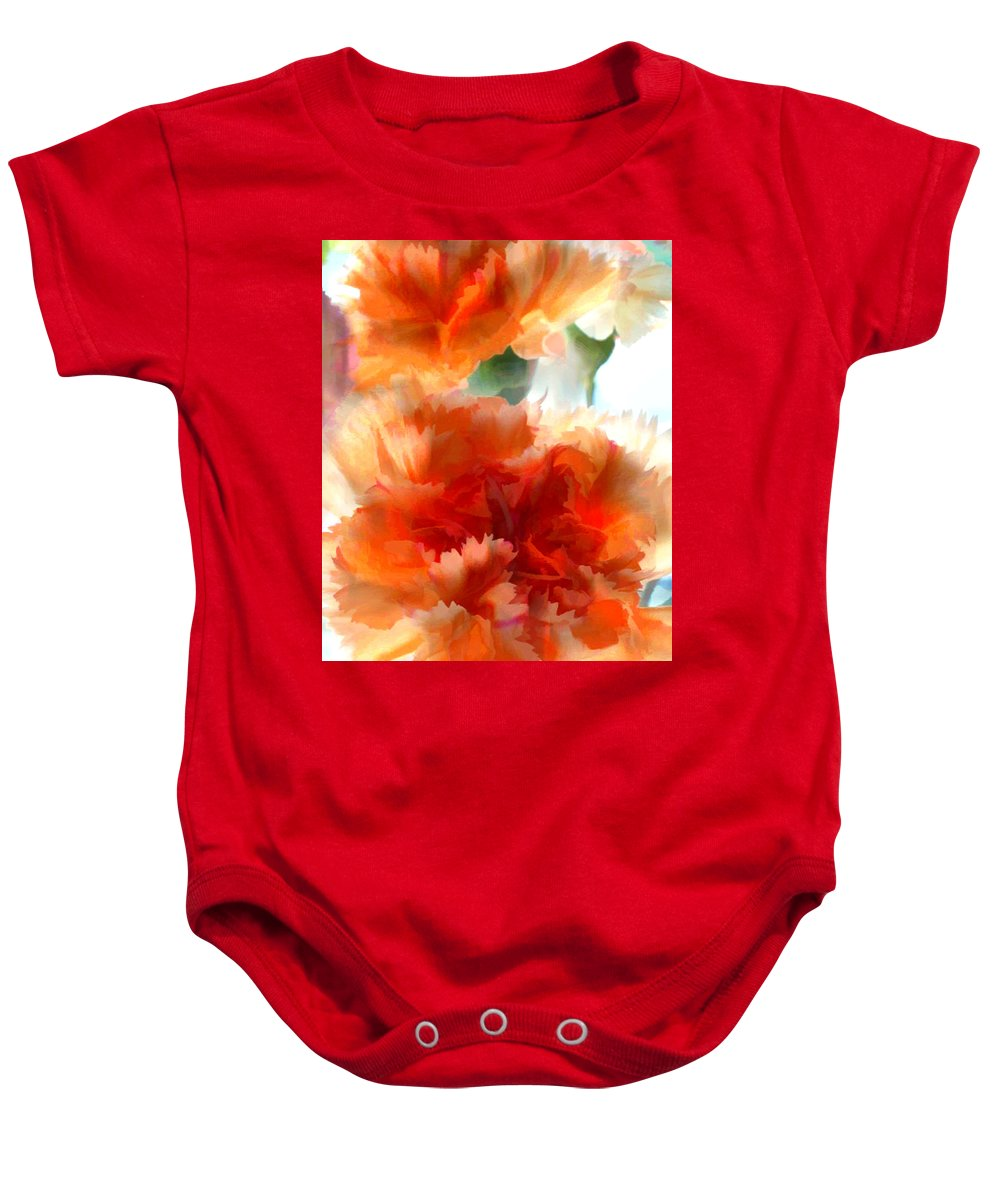 Flower Flowers Garden Carnation Carnations Flora Floral Nature Orange Natural Baby Onesie featuring the painting Orange Carnations by Elaine Plesser