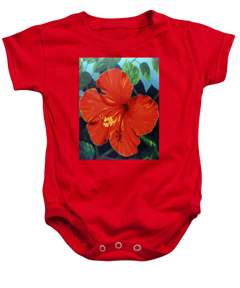 Red Hibiscus Flower. Baby Onesie featuring the painting Our Lady Of Florida by Kyra Belan