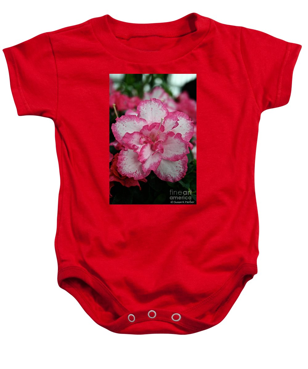 Tropical Plant Baby Onesie featuring the photograph Pink Party by Susan Herber