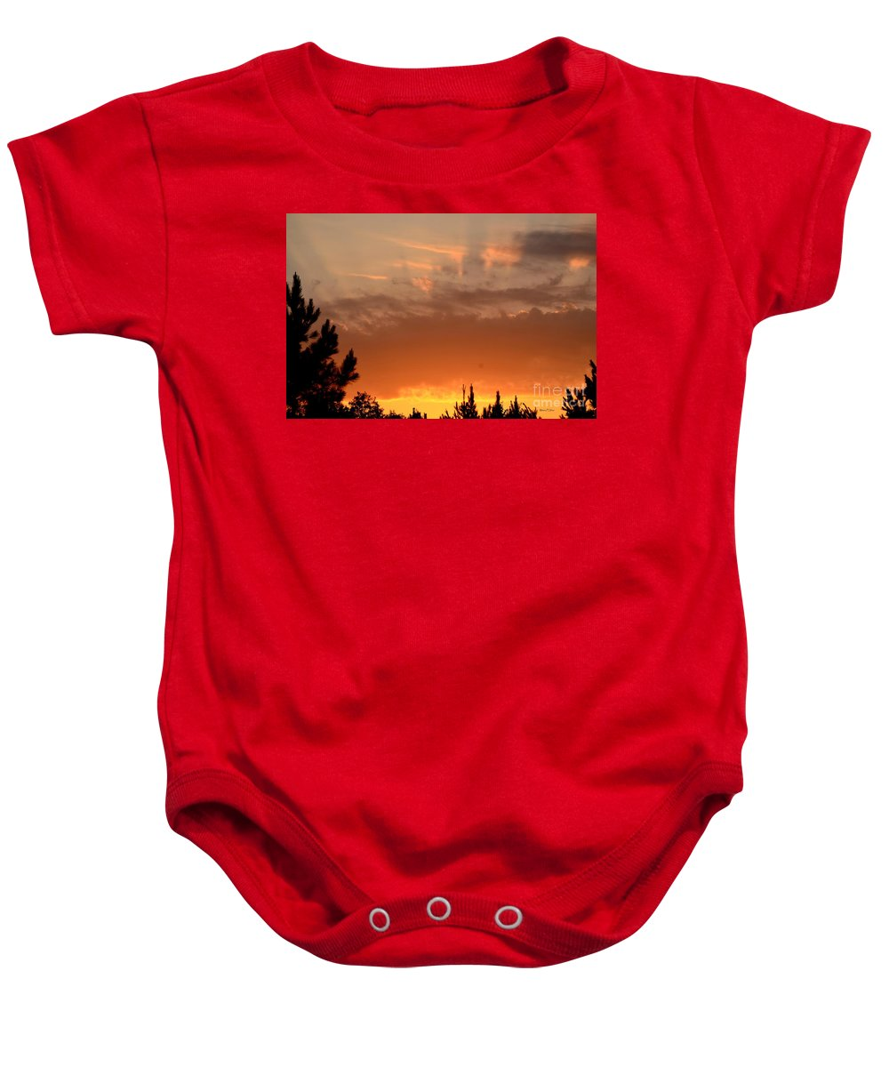 Sunrise Baby Onesie featuring the photograph Pink Rays And Orange Skies by Maria Urso