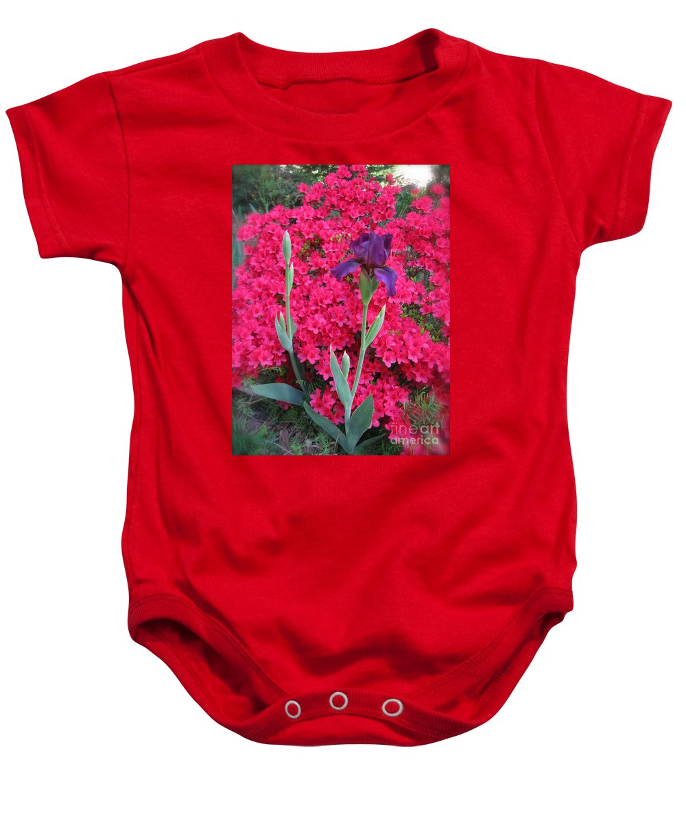 Purple Iris Baby Onesie featuring the photograph Purple Iris In Pink by Nancy Patterson