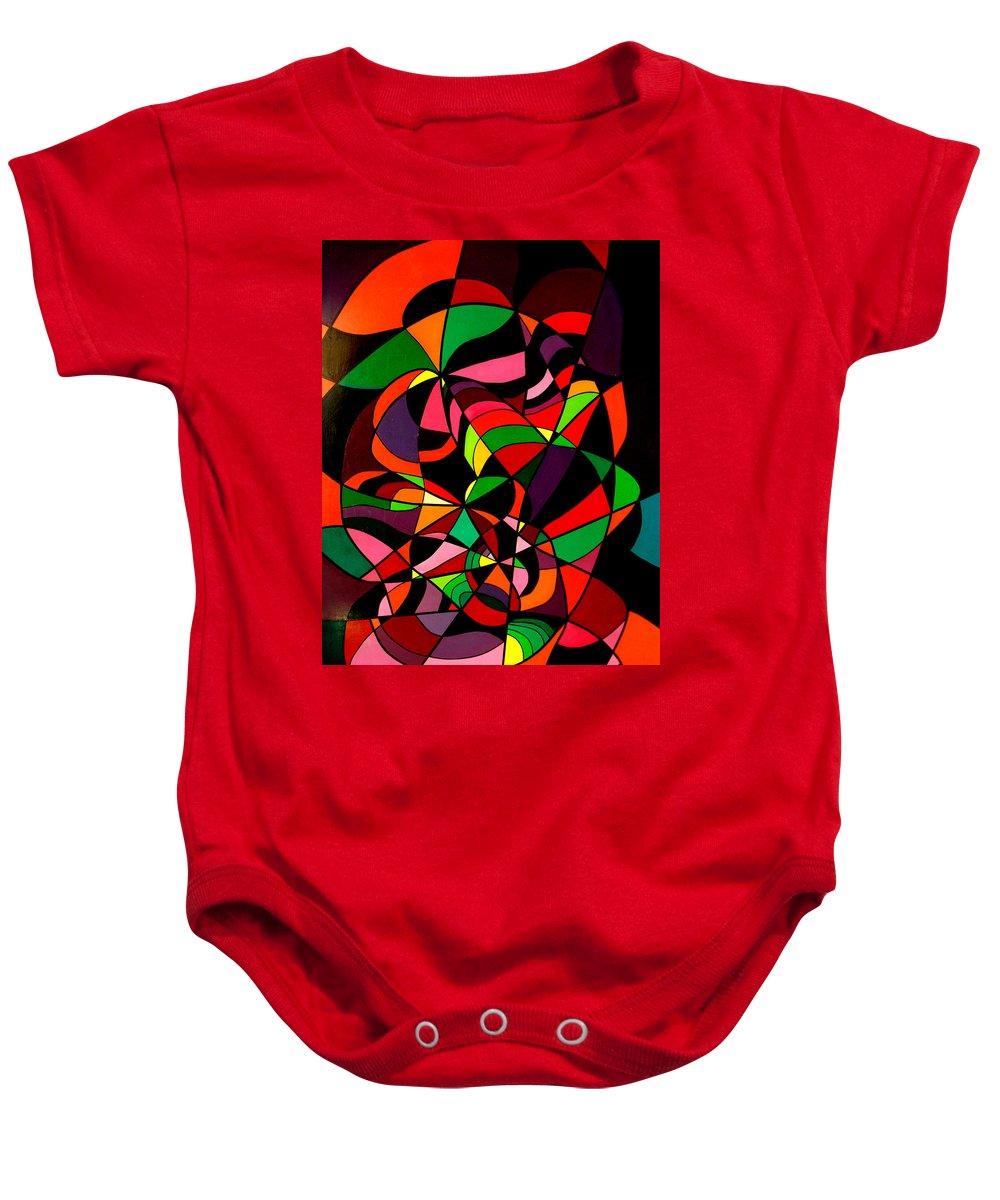 Australian Art Baby Onesie featuring the painting Rainbow Snake 1 by Giro Tavitian