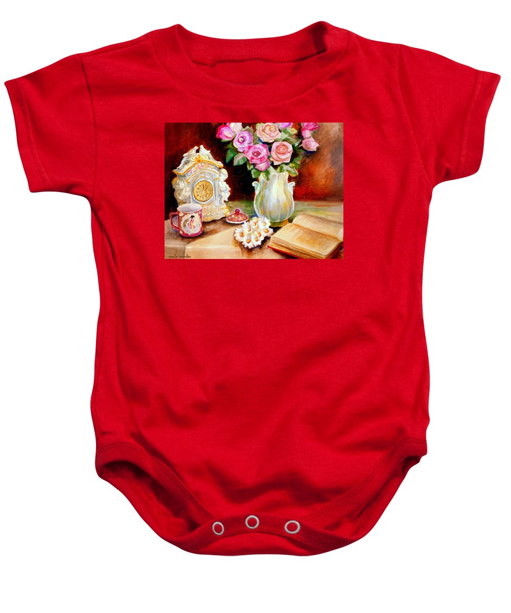 Beautiful Roses In A Dining Room Setting Baby Onesie featuring the painting Red And Pink Roses And Daisies - The Doves Of Peace-angels And The Bible by Carole Spandau