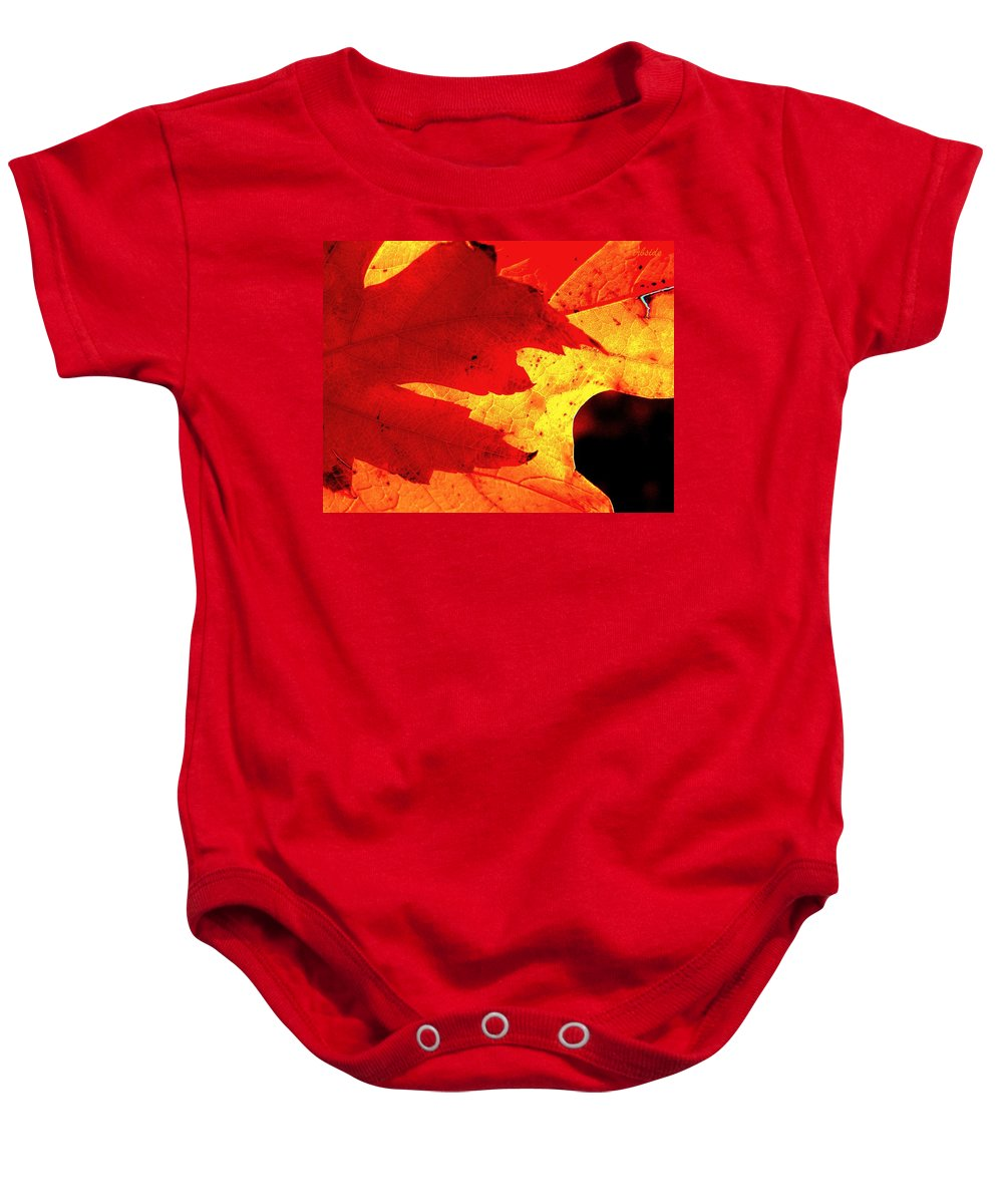 Leaves Baby Onesie featuring the photograph Red On Gold by Chris Berry