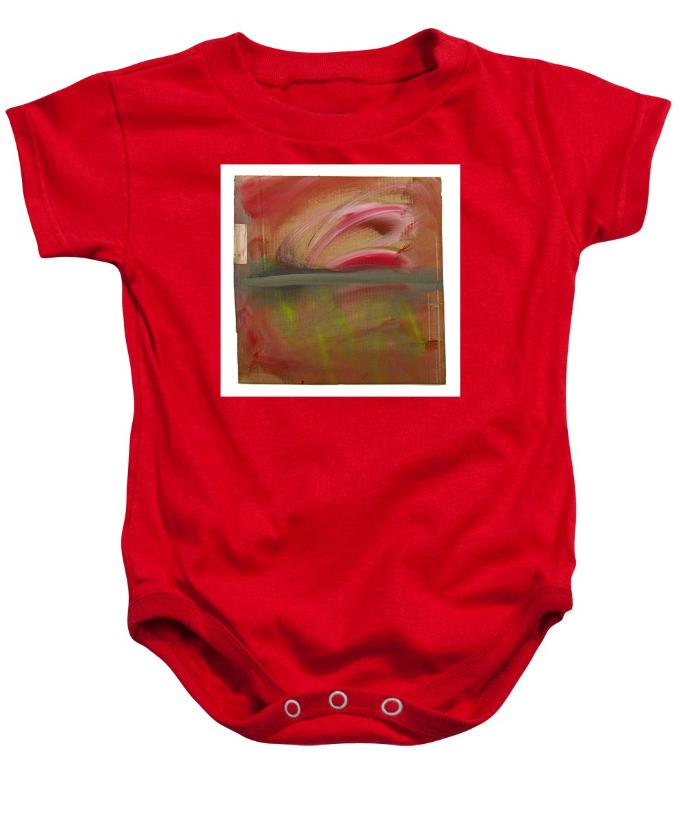 Tsunami Baby Onesie featuring the painting Red Tide White by Charles Stuart