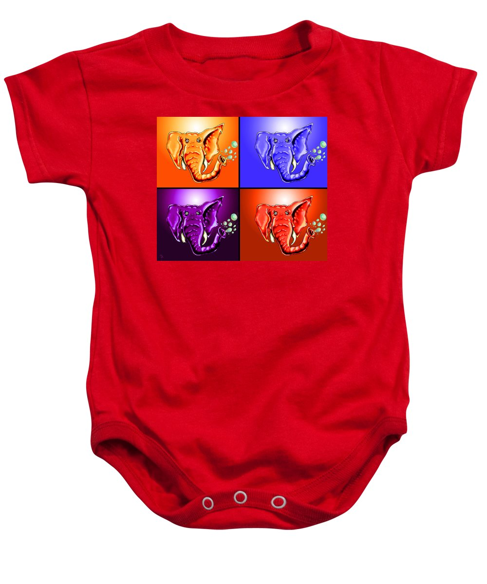 Elephant Baby Onesie featuring the drawing Ringo Party Animal by Adam Vance