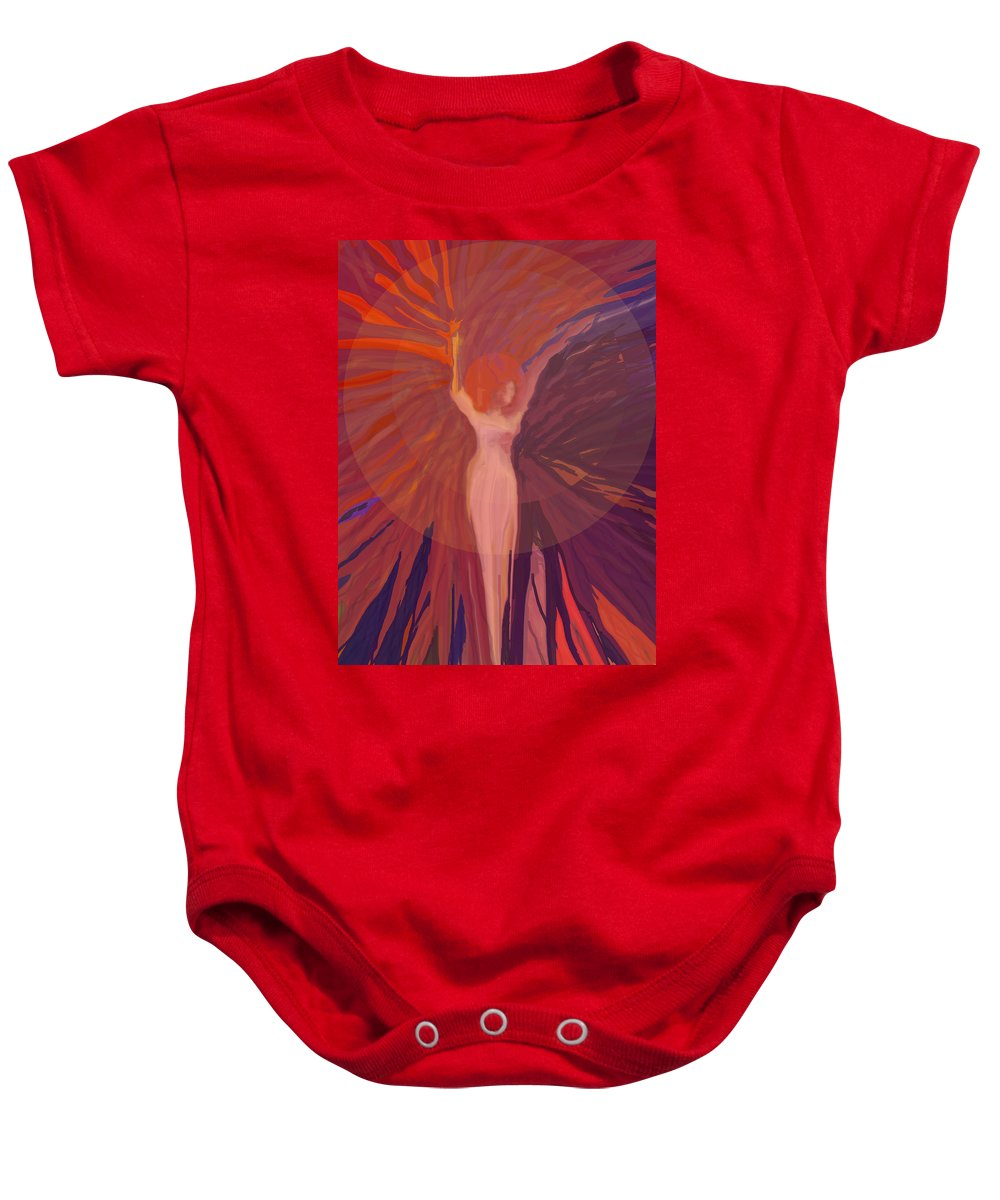 Abstract Baby Onesie featuring the digital art Rising From The Ashes by Ian MacDonald