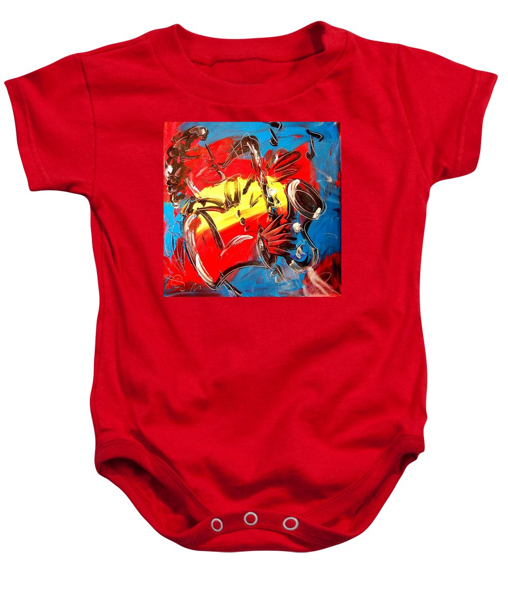 Music Jazz Piano Red Landscape Framed Prints Baby Onesie featuring the mixed media Sax Player by Mark Kazav
